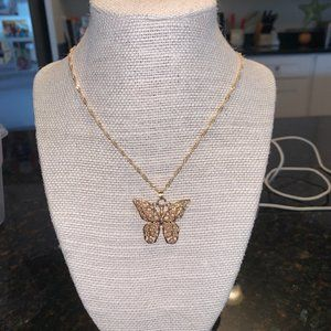 gold butterfly brandy melville choker necklace